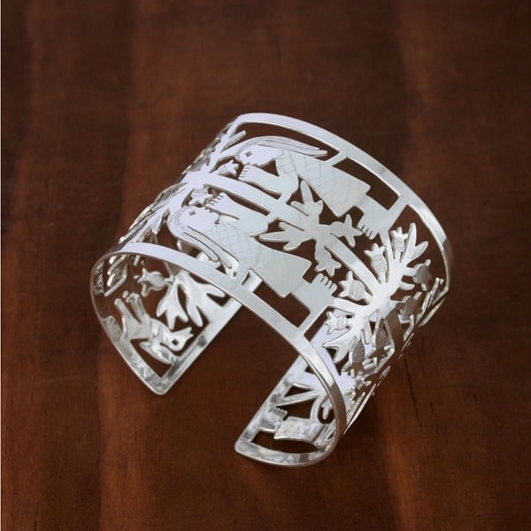Tree of Life Artisan Handmade Collectible Open Cutwork Highly Polished 925 Sterling Silver Womens Wide Cuff Bracelet (Mexico)