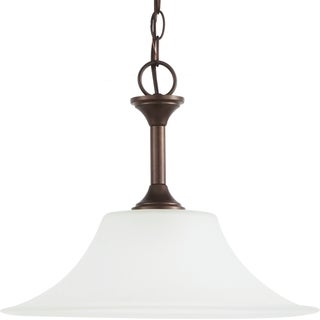 Holman 1-light Bell Metal Bronze Downlight Pendant with Satin Etched Glass