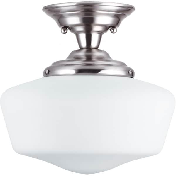 Shop Academy Brushed Nickel 1 Light Medium Semi Flush