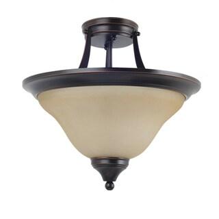 Brockton Burnt Sienna 2-Light Indoor Semi-Flush Convertible