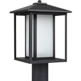 Hunnington 1-light Black Outdoor Post Lantern with Seeded Etched Glass