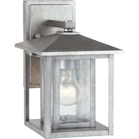 Hunnington Weathered Pewter 1-Light Outdoor Wall Fixture
