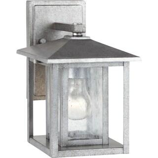 hunnington weathered pewter 1 light outdoor wall fixture. Black Bedroom Furniture Sets. Home Design Ideas
