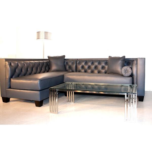 Decenni Custom Furniture 'Tobias' Monte Carlo Slate Leather Sectional Sofa