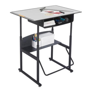 Safco Alphabetter 36 x 24-inch Premium Grey Top/ Black Frame Stand-up Desk with Swinging Footrest Bar