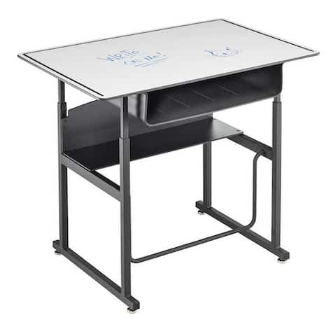 "Safco Alphabetter 36"" X 24"" Premium Top Adjustable Height Stand Up Student Desk with Book Box and Swinging Footrest Bar"