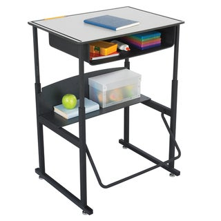 Safco Alphabetter 28 x 20-inch Premium Grey Top/ Black Frame Stand-up Desk with Swinging Footrest Bar and Book Box