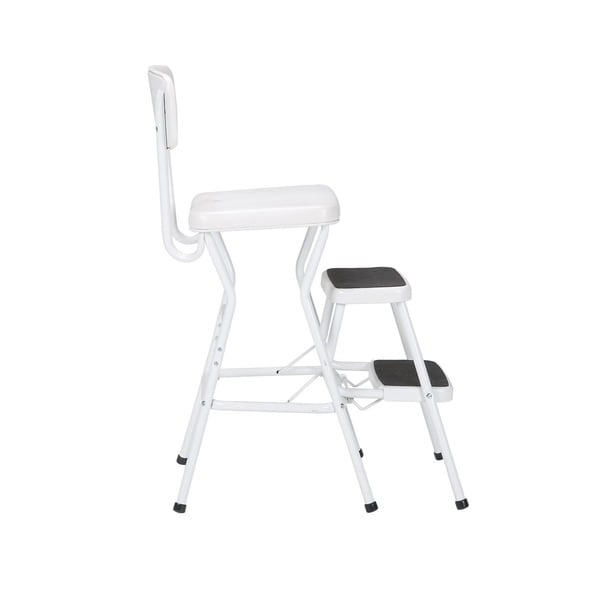 Cosco Retro White Counter Chair / Step Stool   Free Shipping Today    Overstock.com   15388204
