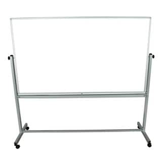 Offex Wholesale White Double-sided Silver Frame 72 in. W x 40 in. H Adjustable Magnetic Whiteboard Easel