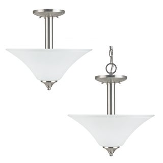 'Holman' Brushed Nickel 2-Light Semi-flush Fixture