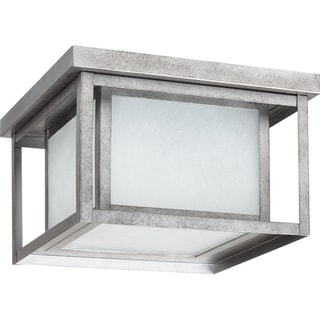 'Hunnington' Weathered Pewter 2-Light Outdoor Ceiling Fixture