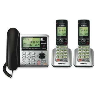 VTech CS6649-2 DECT 6.0 Expandable Corded/Cordless Phone with Answeri