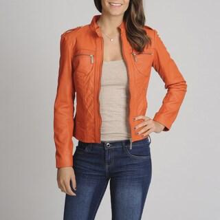 Bernardo Women S Orange Leather Scuba Jacket Free