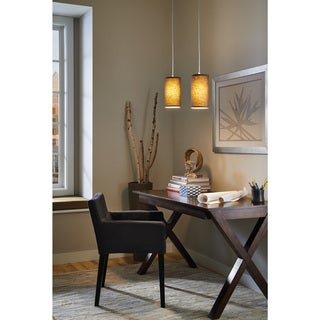 Sea Gull Lighting 1-Light Tan Linen Finish Mini Pendant