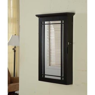 Black Wall-mount Jewelry Armoire with Lock