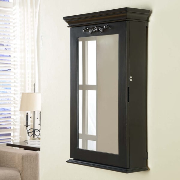 Morris Black Wall Mounted Jewelry Armoire Box with Lock