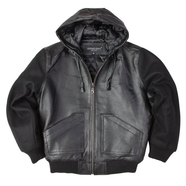 United Face Boys Black Leather Hooded Bomber Jacket with Wool ...