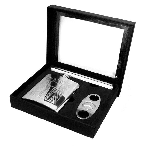 Stainless Steel Flask, Cigar Case and Cutter Gift Box Set