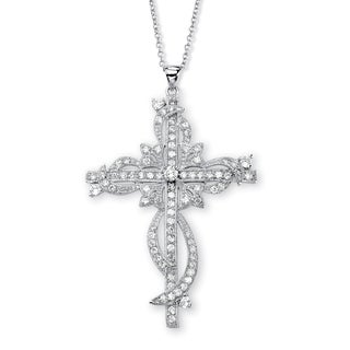 "PalmBeach 3.12 TCW Round Cubic Zirconia Cross Pendant Necklace in Silvertone 18"" Glam CZ"