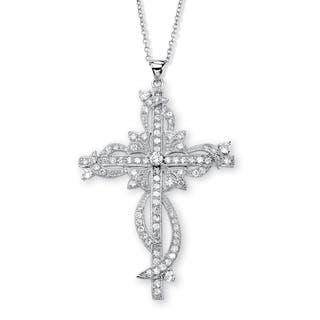 Silvertone Cubic Zirconia Cross Pendant Necklace|https://ak1.ostkcdn.com/images/products/8028485/P15389892.jpg?impolicy=medium