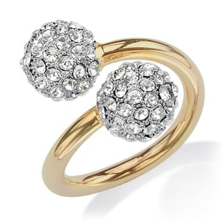 PalmBeach Crystal Ball Bypass Cocktail Ring in 14k Gold-Plated Bold Fashion