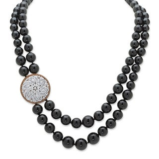 "PalmBeach Genuine Black Onyx Silvertone Double-Strand Floral-Motif Necklace Adjustable 20"" to 23"" Naturalist"