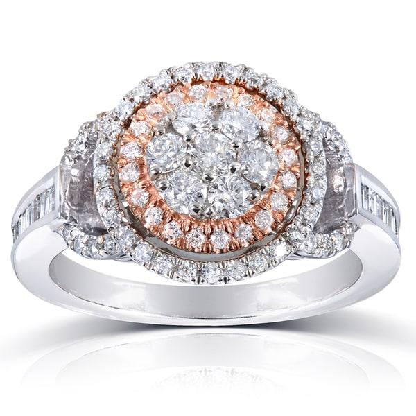 Annello by Kobelli 14k Rose/White Gold 4/5ct TDW Baguette Side Diamond Ring