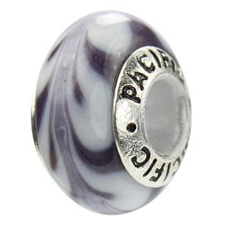 Sterling Silver 'Plum It Up' Murano-style Glass Bead