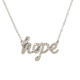 Beverly Hills Charm Sterling Silver Diamond 'Hope' Word Necklace (H-I, I1-I2)