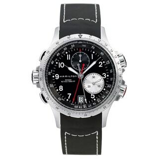 Hamilton Men's 'Khaki ETO' Black Dial Chronograph Watch - silver