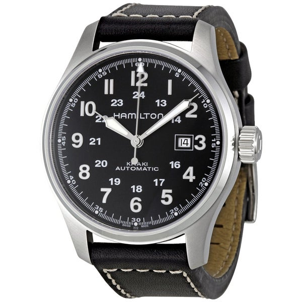 Hamilton Men S Khaki Field Automatic Black Dial Watch