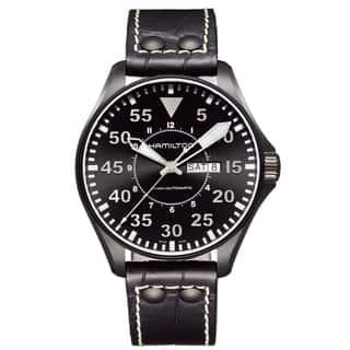 Hamilton Men's 'Khaki Pilot' Aviator Black Dial Watch|https://ak1.ostkcdn.com/images/products/8028547/8028547/Hamilton-Mens-Khaki-Pilot-Aviator-Black-Dial-Watch-P15389931.jpg?impolicy=medium