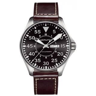 Hamilton Men's 'Khaki Pilot' Brown Leather Strap Watch|https://ak1.ostkcdn.com/images/products/8028548/8028548/Hamilton-Mens-Khaki-Pilot-Brown-Leather-Strap-Watch-P15389932.jpg?impolicy=medium