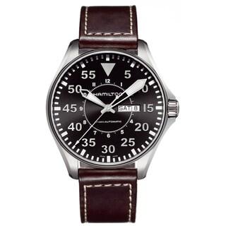 Hamilton Men's 'Khaki Pilot' Brown Leather Strap Watch