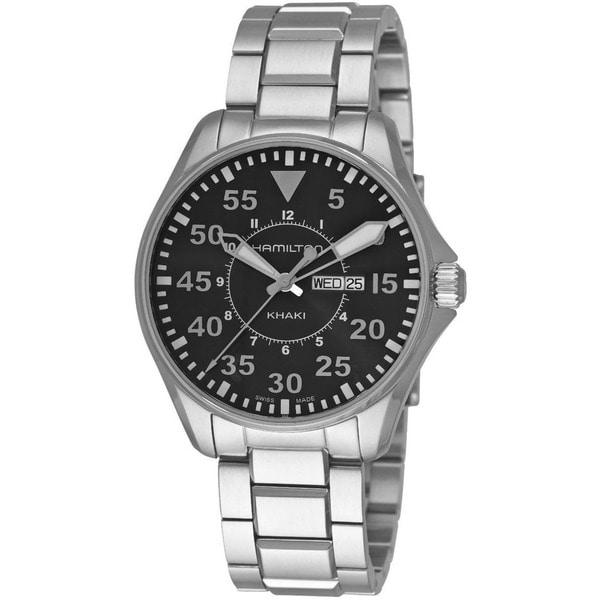 Hamilton Men's 'Khaki Pilot' 42mm Black Dial Watch. Opens flyout.
