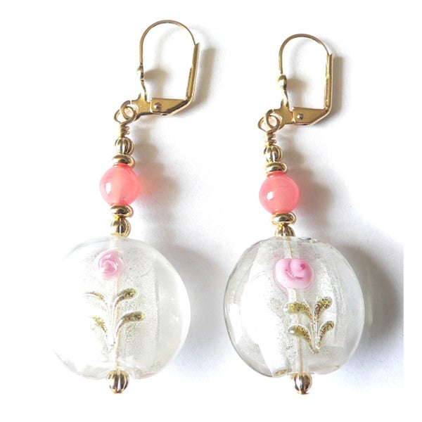 'Joleen' Lampworked Glass Dangle Earrings