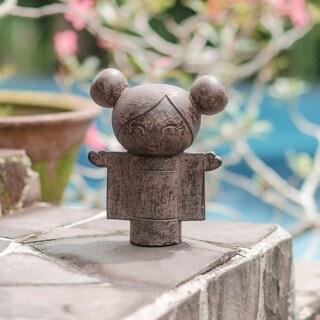 Volcanic Stone Open Heart Kokeshi Doll Statuette, Handmade in Indonesia