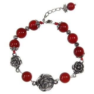 Handmade Miao Silver Rose Agate Bracelet (China)