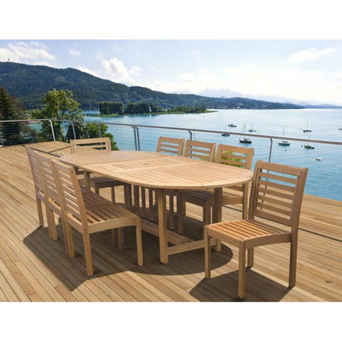 Amazonia Amelia Eucalyptus Wood 9 piece Extendable Patio Dining Set