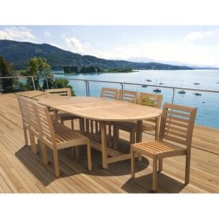 Amazonia Amelia Eucalyptus Wood 9-piece Extendable Oval Outdoor Dining Set