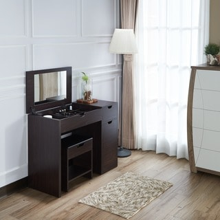 Furniture of America Laurel Multi-Storage Vanity Table with Mirror and Stool Set