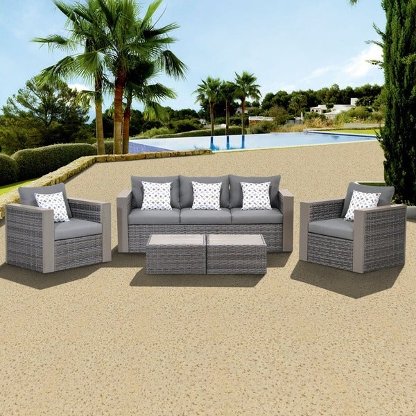 Lovely Atlantic Freeport 5 Piece Patio Conversation Furniture Set