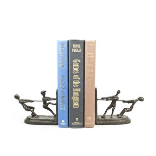 Children Playing Tug of War Metal Bookend Set