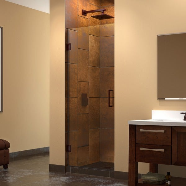 dreamline unidoor 24 inch frameless hinged shower door free shipping today. Black Bedroom Furniture Sets. Home Design Ideas