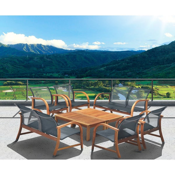 Amazonia Cosmopolitan 8 Piece Conversation Patio Furniture Set   Brown