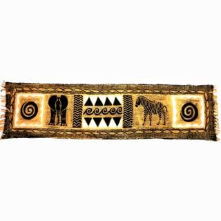 Handpainted Horizontal Black and Natural Animal Batik , Handmade in Zimbabwe