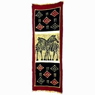Hand-painted Vertical Zebras with Diamonds Batik , Handmade in Zimbabwe
