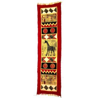 Handmade Vertical Red Giraffe and Dancers Batik (Zimbabwe)