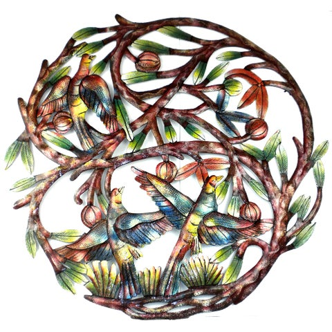 Hand-painted 'Tree of Life' 24-inch Recycled Metal Wall Art (Haiti)