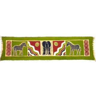 Handpainted Horizontal Green Zebra and Elephant Batik (Zimbabwe)